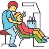 Οδοντίατρος που εργάζεται, στοματολογία, οδοντική υπομονετική έννοια διανυσματική απεικόνιση