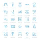 Οδοντίατρος, orthodontics εικονίδια γραμμών Οδοντικός εξοπλισμός προσοχής, στηρίγματα, πρόσθεση δοντιών, καπλαμάδες, νήμα, επεξερ απεικόνιση αποθεμάτων