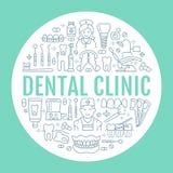 Οδοντίατρος, orthodontics ιατρικό έμβλημα με το διανυσματικό εικονίδιο γραμμών του οδοντικού εξοπλισμού προσοχής, στηρίγματα, πρό διανυσματική απεικόνιση