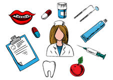 Οδοντικά εικονίδια ιατρικής και οδοντιατρικής Στοκ Φωτογραφία