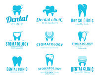 Οδοντικά λογότυπο κλινικών, εικονίδια και στοιχεία σχεδίου Στοκ Εικόνες