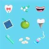 Οδοντικά σύμβολα προσοχής Στοματική υγεία προσοχής δοντιών οδοντική που τίθεται με τη θεραπεία οδοντιάτρων επιθεώρησης διανυσματική απεικόνιση