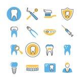 Οδοντική προσοχή, υπηρεσίες, εξοπλισμός και γραμμικά διανυσματικά εικονίδια προϊόντων με τα στοιχεία χρώματος ελεύθερη απεικόνιση δικαιώματος