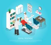 Οδοντική Isometric αφίσα επεξεργασίας διαδικασίας εξετάσεων απεικόνιση αποθεμάτων
