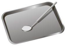 Οδοντικός δίσκος με τον καθρέφτη Στοκ Εικόνα