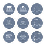Οδοντικό σύνολο 01 εικονιδίων προσοχής Στοκ εικόνα με δικαίωμα ελεύθερης χρήσης