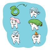 Οδοντικό σύνολο υγείας δοντιών και προφορικής υγιεινής Στοκ Εικόνα