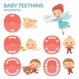 Οδοντοφυΐα μωρών συρμένο δόντι απεικόνισης χεριών νεράιδων Περίοδος έκρηξης και σκόρπισμα των δοντιών μωρών ` s Στοκ Εικόνες