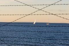 Οδοντωτός - sailboats θάλασσας φυλακών καλωδίων Στοκ Εικόνα