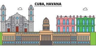Ο ορίζοντας πόλεων περιλήψεων της Κούβας, Αβάνα, γραμμική απεικόνιση, έμβλημα, ορόσημο ταξιδιού, κτήρια σκιαγραφεί, διάνυσμα ελεύθερη απεικόνιση δικαιώματος
