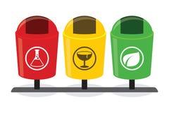 Ο οργανικός ανόργανος ανακύκλωσης χωρισμός δοχείων απορριμάτων διαχωρίζει τα χωριστά απορρίμματα αποβλήτων μπουκαλιών διασπάσιμα διανυσματική απεικόνιση