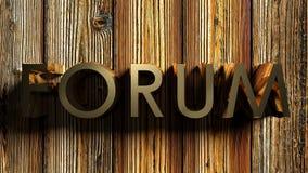 Ο ορείχαλκος ΦΟΡΟΥΜ γράφει στο ξύλινο bagkround - τρισδιάστατη απόδοση διανυσματική απεικόνιση