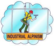 Ο ορειβάτης πλένει τα παράθυρα σε έναν ουρανοξύστη ελεύθερη απεικόνιση δικαιώματος
