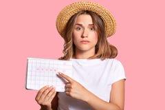 Ο οριζόντιος πυροβολισμός της ευχάριστης κοιτάζοντας γυναίκας με να απευθυνθεί κοιτάζει, κρατά το ημερολόγιο περιόδων για τον έλε στοκ φωτογραφία με δικαίωμα ελεύθερης χρήσης