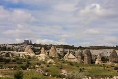 Ο οριζόντιος πυροβολισμός των καπνοδόχων νεράιδων Cappadocia στην Τουρκία την άνοιξη με την πράσινη χλόη και των μικρών δέντρων β Στοκ Εικόνα