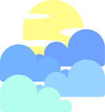 Ο ουρανός με το φεγγάρι και τα σύννεφα διανυσματική απεικόνιση