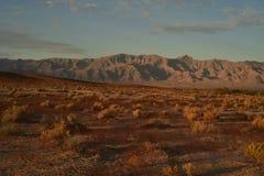 Ο ουρανός τοπίων αυγής ερήμων Mojave καλύπτει τη σειρά βουνών Στοκ Φωτογραφίες