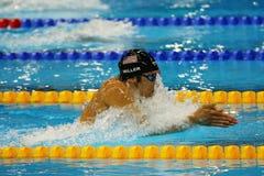 Ο ολυμπιακός πρωτοπόρος Cody Μίλερ των Ηνωμένων Πολιτειών ανταγωνίζεται ηλεκτρονόμος σύμφυρματος των ατόμων 4x100m του Ρίο 2016 Ο Στοκ φωτογραφία με δικαίωμα ελεύθερης χρήσης
