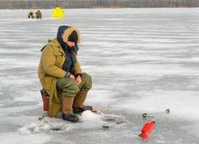 ο πάγος αλιείας ψαριών βρίσκεται ακριβώς παγιδευμένος transbaikalia χειμώνας της Ρωσίας Στοκ Φωτογραφία