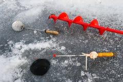 ο πάγος αλιείας ψαριών βρίσκεται ακριβώς παγιδευμένος transbaikalia χειμώνας της Ρωσίας Στοκ φωτογραφίες με δικαίωμα ελεύθερης χρήσης