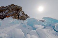 Ο πάγος της λίμνης Baikal, Ρωσία το Μάρτιο του 2018 Στοκ Εικόνα