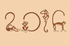 Ο πίθηκος θέτει στον αριθμό του 2016 για το νέο έτος Στοκ Φωτογραφία