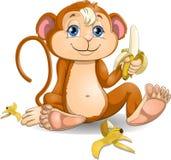 Ο πίθηκος με τις μπανάνες Στοκ φωτογραφία με δικαίωμα ελεύθερης χρήσης