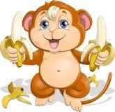 Ο πίθηκος με τις μπανάνες Στοκ Φωτογραφίες