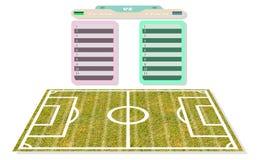 Ο πίνακας βαθμολογίας καταλόγων ονόματος αγωνιστικών χώρων ποδοσφαίρου για το σχέδιο προγραμματίζει να παίξει tex Στοκ Φωτογραφία