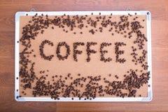 Ο πίνακας σημαίνει τις συνόδους γραπτές τον καφέ Στοκ φωτογραφία με δικαίωμα ελεύθερης χρήσης