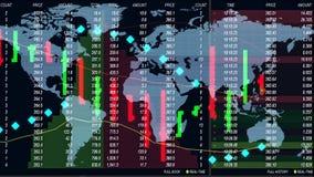 Ο πίνακας τηλετύπων διαγραμμάτων χρηματιστηρίου Forex και η ολογραφική γη χαρτογραφούν στο υπόβαθρο - νέα ποιοτική οικονομική επι διανυσματική απεικόνιση