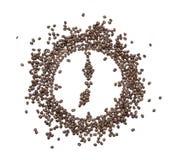 Ο πίνακας του ρολογιού που ενθέτεται με τα ψημένα φασόλια καφέ Στοκ εικόνα με δικαίωμα ελεύθερης χρήσης