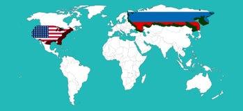 Ο παγκόσμιος χάρτης διακόσμησε τις ΗΠΑ από το ΑΜΕΡΙΚΑΝΙΚΌ flage και τη Ρωσία από τη Ρωσία flage το /Elements αυτής της εικόνας πο Στοκ Φωτογραφία