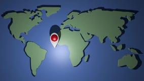 Ο παγκόσμιος χάρτης με την κινούμενη γούρνα ορόσημων symbole όλες οι ήπειροι Ζωντανεψοντη διαφήμιση ταξιδιού Ταξίδι σε όλο τον κό απεικόνιση αποθεμάτων