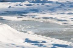 Ο παγωμένος ποταμός με τον πάγο και hoarfrost την κινηματογράφηση σε πρώτο πλάνο Στοκ φωτογραφίες με δικαίωμα ελεύθερης χρήσης