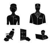 Ο παθολόγος, η νοσοκόμα, το καρδιογράφημα της καρδιάς, η οδοντική καρέκλα Εικονίδια συλλογής Medicineset στο Μαύρο απεικόνιση αποθεμάτων