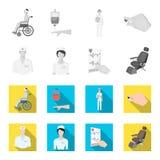 Ο παθολόγος, η νοσοκόμα, το καρδιογράφημα της καρδιάς, η οδοντική καρέκλα Εικονίδια συλλογής Medicineset μέσα ελεύθερη απεικόνιση δικαιώματος