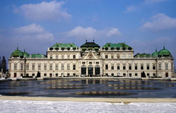 Ανώτερο παλάτι Βιέννη Αυστρία πανοραμικών πυργίσκων Στοκ Φωτογραφίες