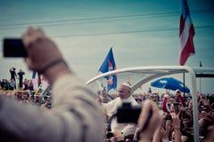 Ο παπάς Francis γιορτάζει τη μάζα στην παραλία Copacabana Στοκ Φωτογραφία