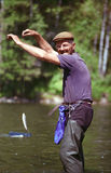 Ο παππούς επίασε ένα ψάρι Στοκ Εικόνες