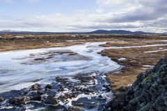 Ο παραπόταμος ποταμών σε Thingvellir Στοκ Φωτογραφία