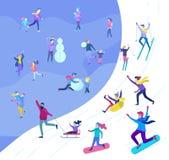 Ο πατέρας με τα παιδιά του έντυσε outerwear εκτελώντας την υπαίθρια διασκέδαση δραστηριοτήτων Φεστιβάλ, και σνόουμπορντ χιονιού διανυσματική απεικόνιση