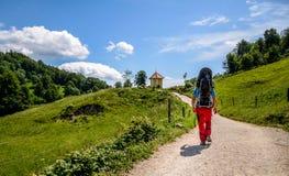 Ο πατέρας με το μωρό στο μεταφορέα σακιδίων πλάτης στα βουνά Στοκ Φωτογραφίες