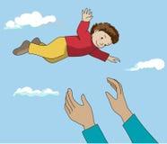 Ο πατέρας ρίχνει επάνω στο ευτυχές παιδί στον αέρα διάνυσμα Στοκ Φωτογραφίες