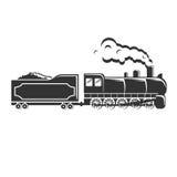 Ο παλαιός εκλεκτής ποιότητας αναδρομικός ατμός τραίνων τροφοδότησε το κινητήριο κούτσουρο hipster logotype Στοκ Εικόνες