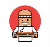 Ο παλαιός ιαπωνικός αρχιμάγειρας εξυπηρετεί τα σούσια Στοκ φωτογραφία με δικαίωμα ελεύθερης χρήσης