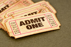 Ο παλαιός κινηματογράφος αναγνωρίζει τα εισιτήρια ένα Στοκ Εικόνες