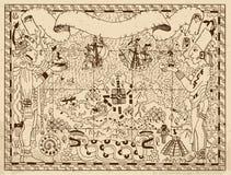 Ο παλαιός των Μάγια ή των Αζτέκων χάρτης με δύο Θεούς και η φαντασία προσγειώνονται στο υπόβαθρο εγγράφου ελεύθερη απεικόνιση δικαιώματος