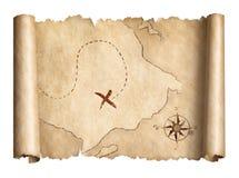 Ο παλαιός χάρτης κυλίνδρων θησαυρών πειρατών απομόνωσε την τρισδιάστατη απεικόνιση ελεύθερη απεικόνιση δικαιώματος