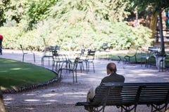 Ο παλαιότερος κύριος κάθεται στον πάγκο πάρκων, δικοί του πίσω στη κάμερα, που αντιμετωπίζει τη μεγάλη ανθίζοντας θαμνώδη περιοχή Στοκ εικόνα με δικαίωμα ελεύθερης χρήσης